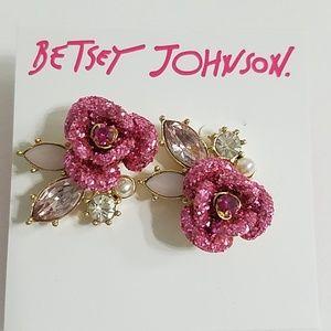 Betsey Johnson Glitter Rose Earrings